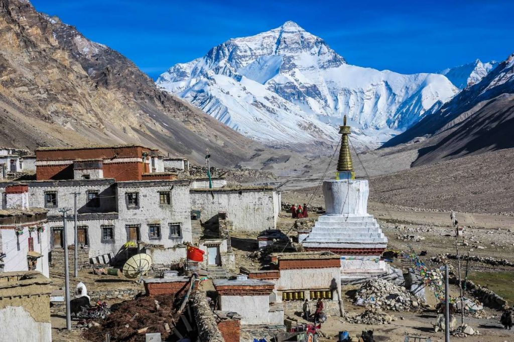 View on Mt Everest from Rongbuk Monastery
